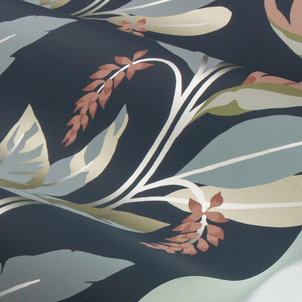 Llenya Wallpaper - Ink / Coral / Seaglass - by Harlequin