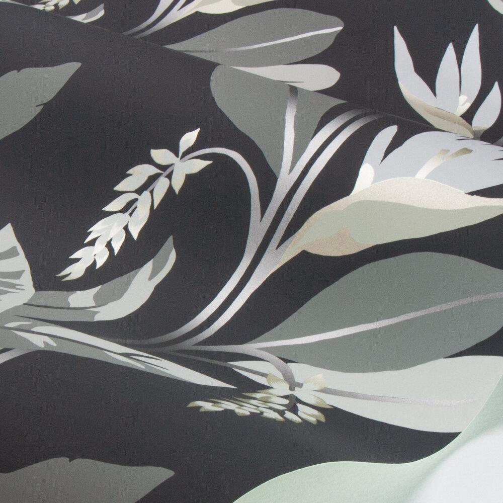 Llenya Wallpaper - Jet / Stone / Gold - by Harlequin
