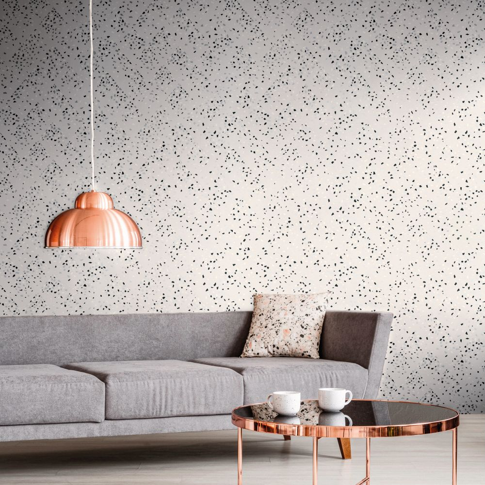 Terrazo Wallpaper - White / Silver - by New Walls