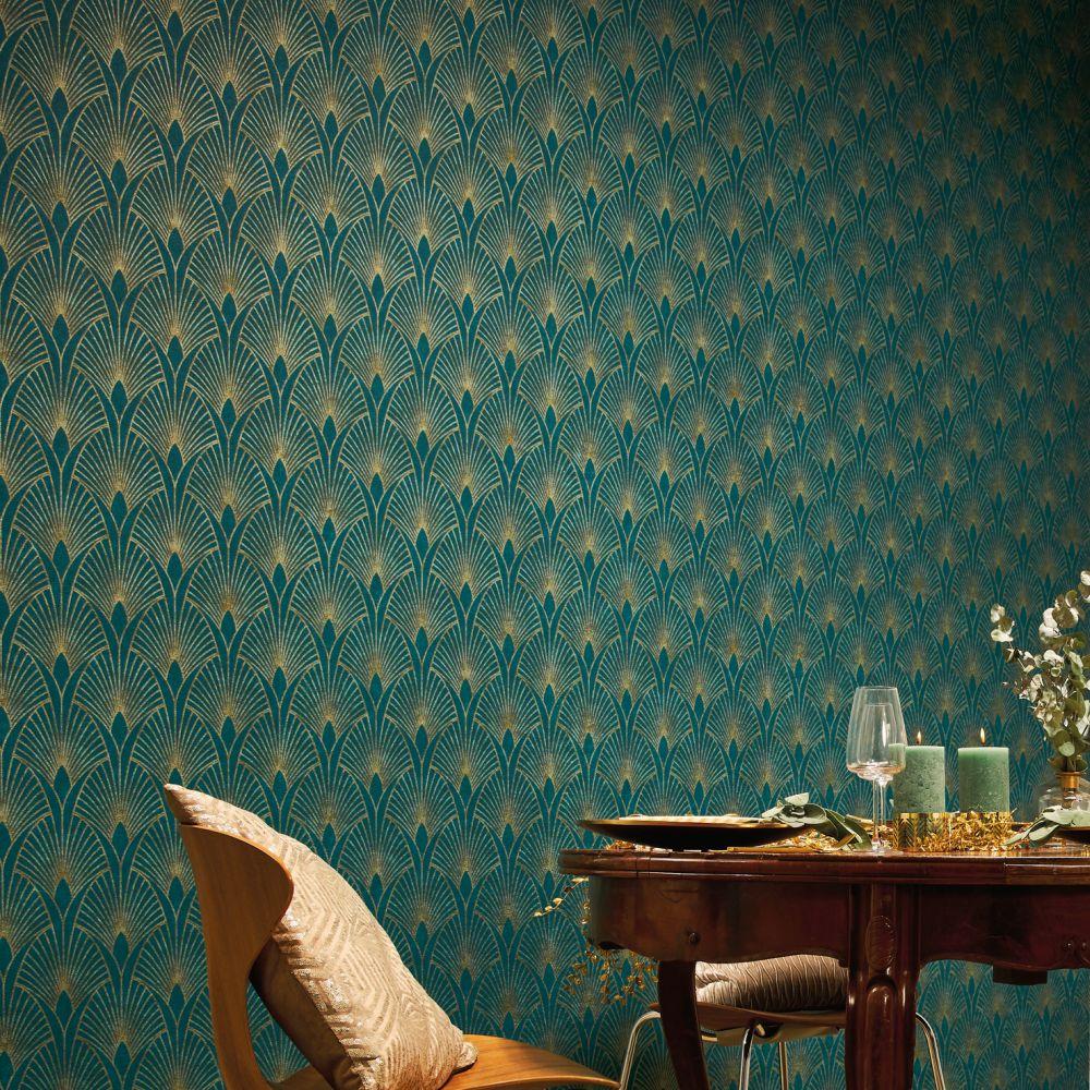Fan Wallpaper - Emerald - by New Walls