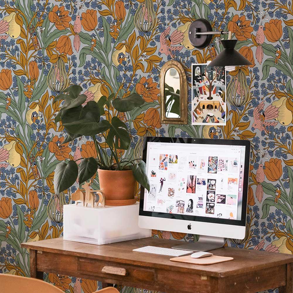 Neo-Belle-Epoque Wallpaper - Blue - by Coordonne