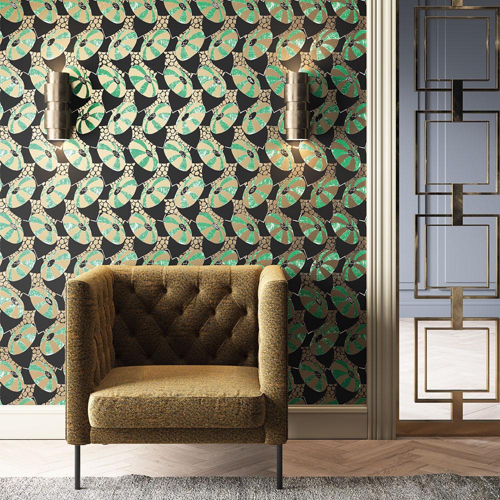 Khrôma by Masureel Cecilia Emerald Wallpaper - Product code: FOL001