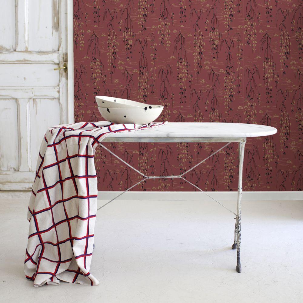 Sabi Wallpaper - Red - by Coordonne