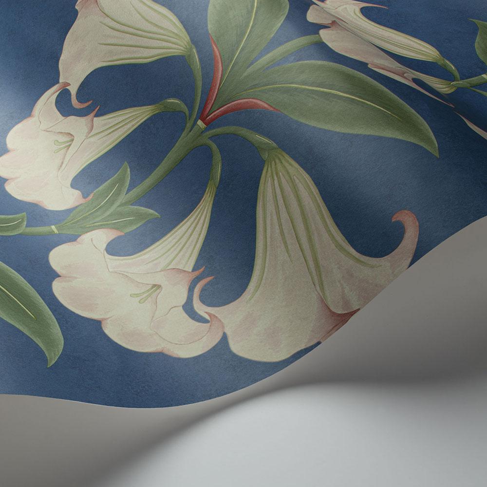 Angel's Trumpet Wallpaper - Ballet Slipper & Sage on Cerulean Sky - by Cole & Son