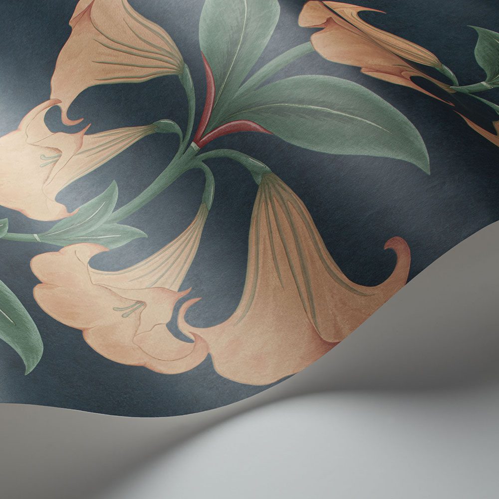 Angel's Trumpet Wallpaper - Coral & Viridian on Ink - by Cole & Son