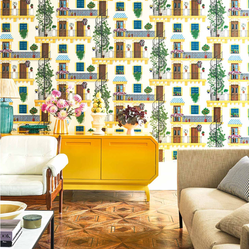 Alfaro Wallpaper - Canary Yellow & Petrol on Parchment - by Cole & Son