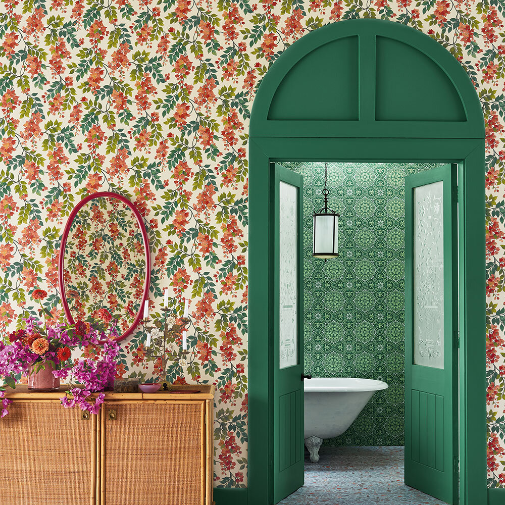 Cole & Son Bougainvillea Rouge, Olive Green & Emerald on Cream Wallpaper - Product code: 117/6016