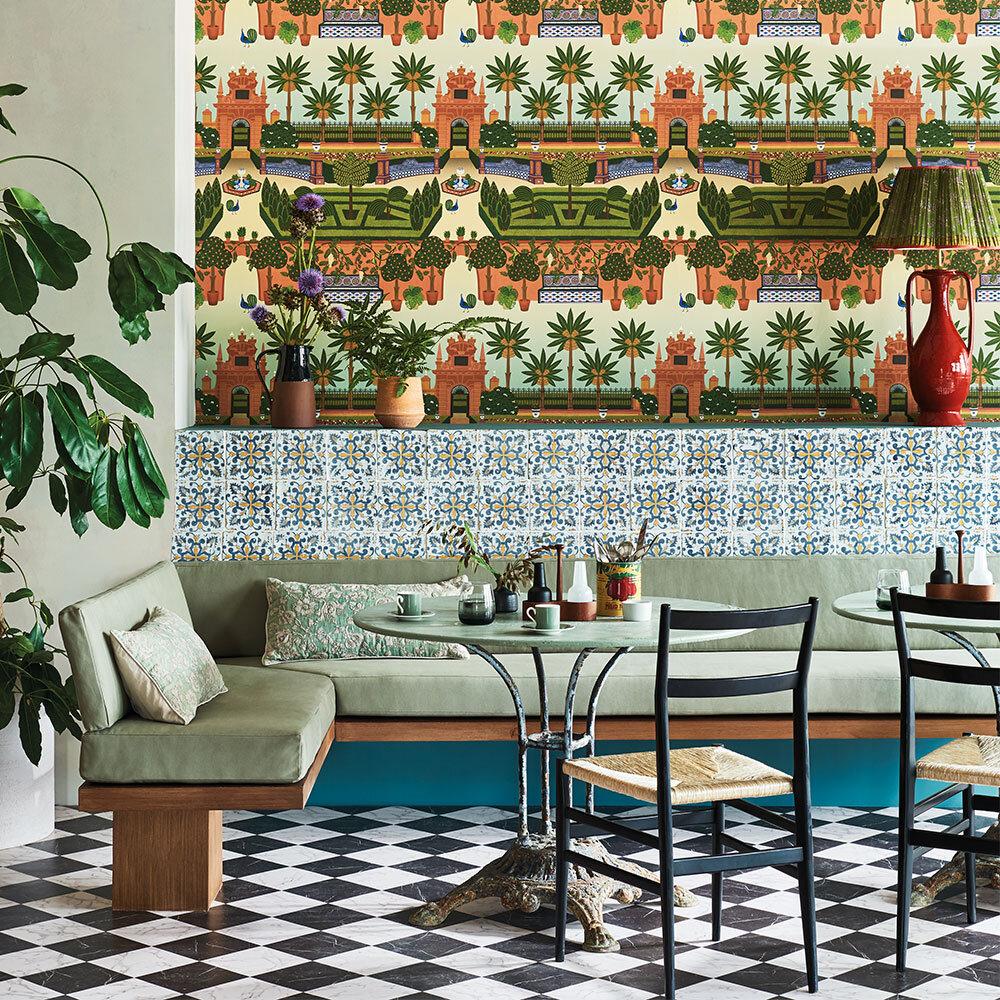 Alcazar Gardens Wallpaper - Terracotta & Spring Green Multi - by Cole & Son