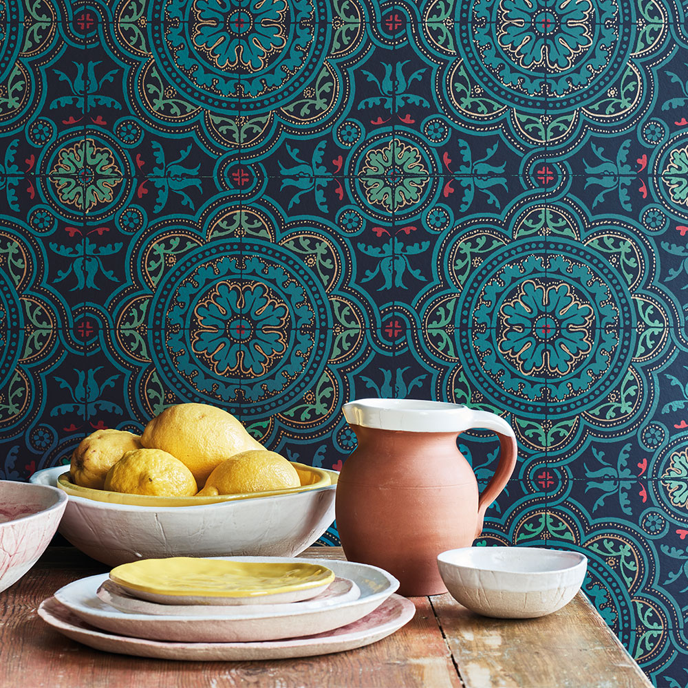 Piccadilly Wallpaper - Petrol, Red & Metallic Gold on Ink - by Cole & Son