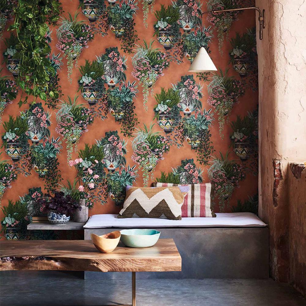 Talavera Wallpaper - Rose & Spring Greens - by Cole & Son