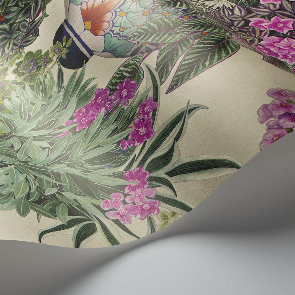 Talavera Wallpaper - Magenta & Spring Greens on Stone - by Cole & Son