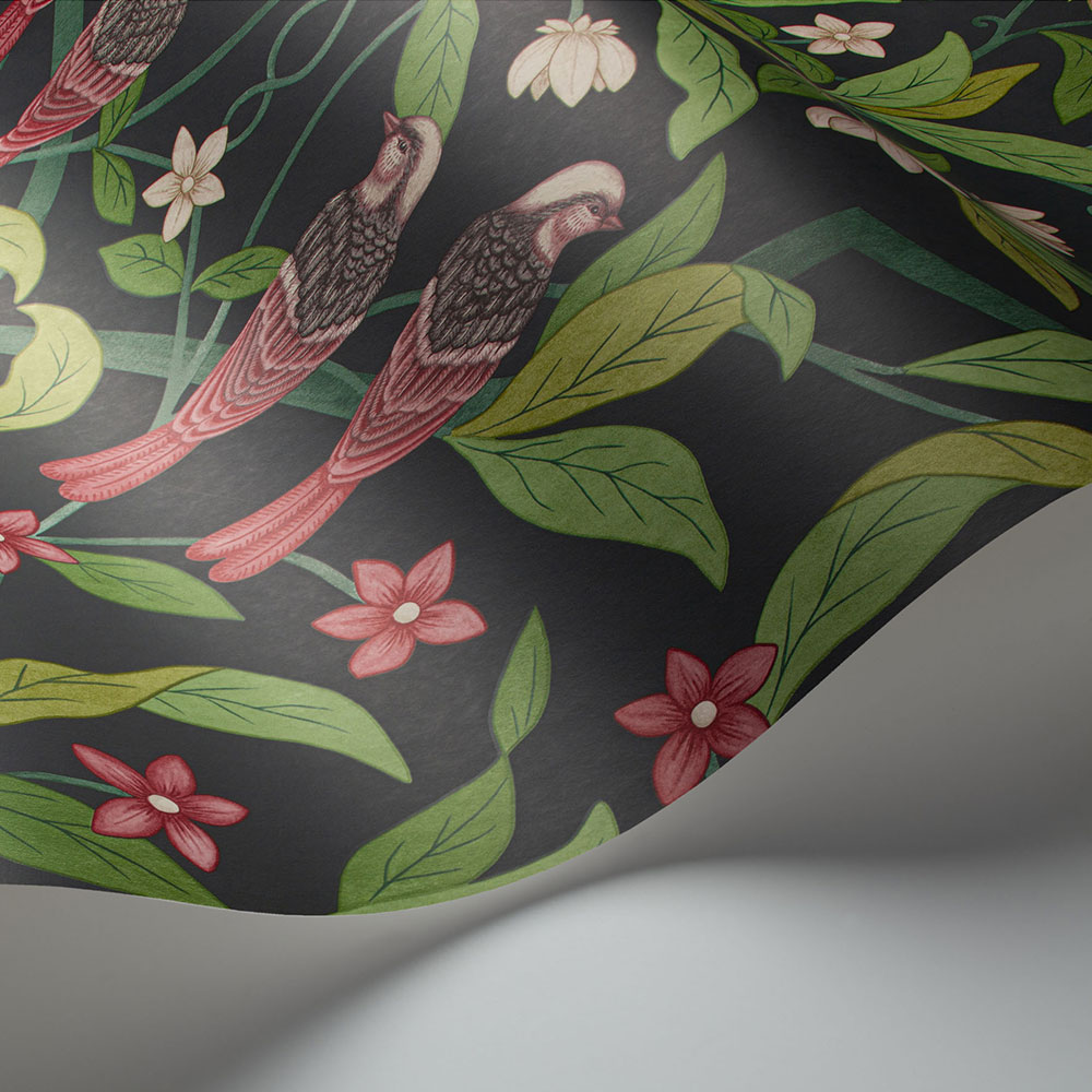 Cole & Son Jasmine & Serin Symphony Rose & Racing Car Green on Dark Viridian Wallpaper - Product code: 117/10028