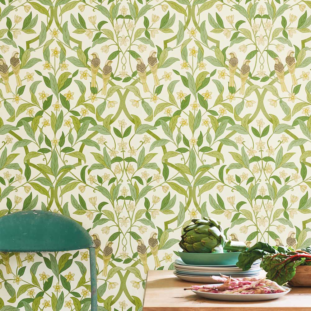 Jasmine & Serin Symphony Wallpaper - Chartreuse & Olive Green on White - by Cole & Son