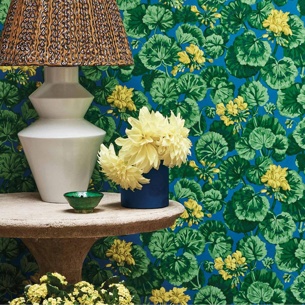 Geranium Wallpaper - Lemon & Forest Greens on Electric Blue - by Cole & Son