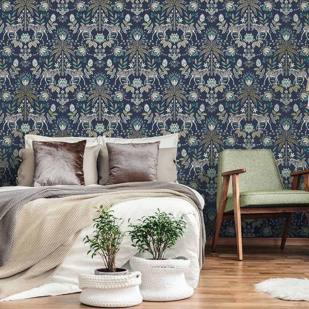 Etosha Wallpaper - Navy - by Albany