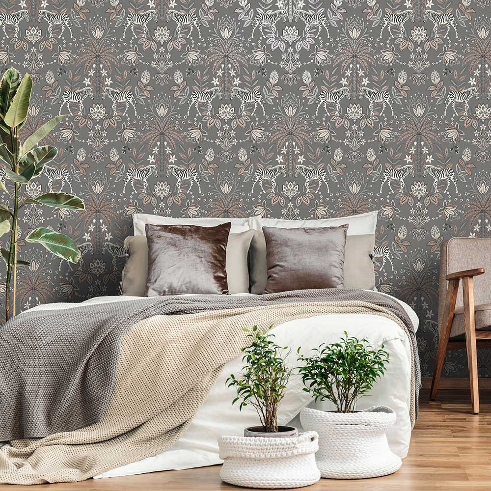 Etosha Wallpaper - Charcoal - by Albany