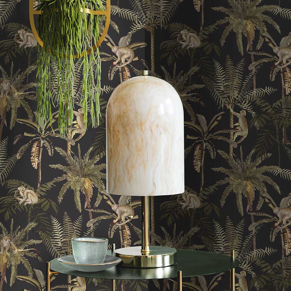 Ateles Wallpaper - Charcoal - by Albany