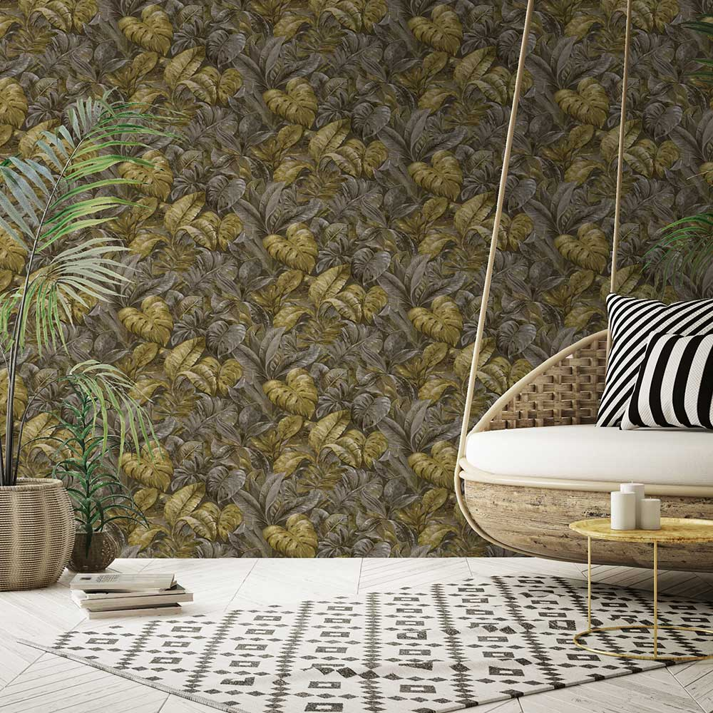 Anori Wallpaper - Ochre - by Albany