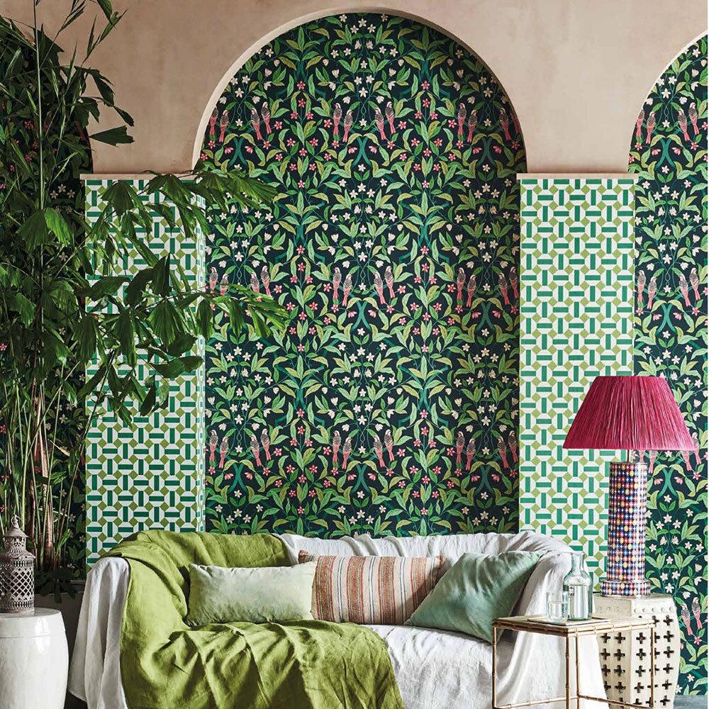Alicatado Wallpaper - Leaf Greens on Chalk  - by Cole & Son