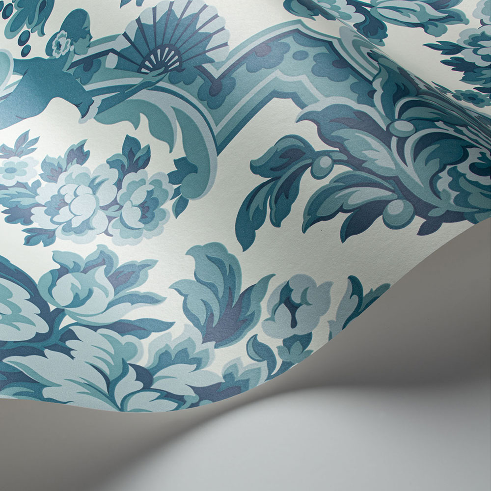 Lola Wallpaper - Petrol Blues on White  - by Cole & Son
