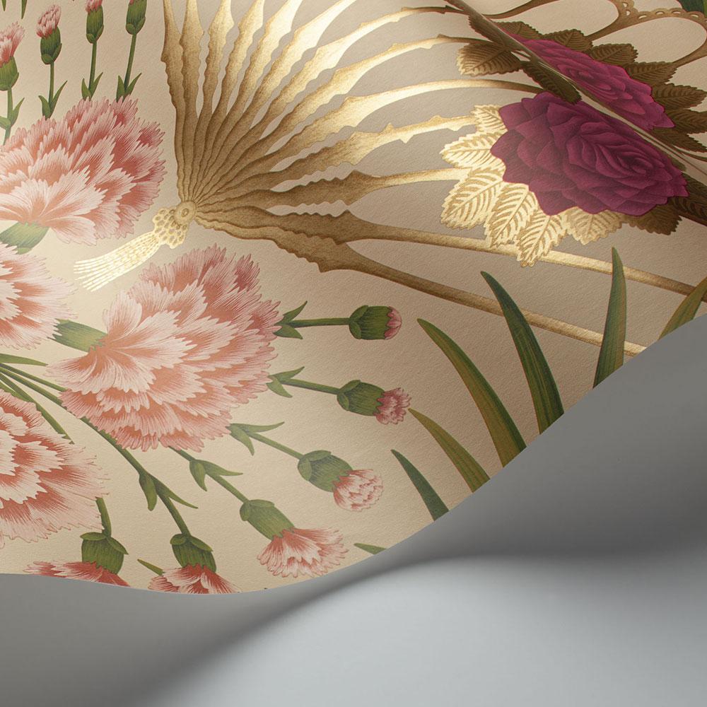 Flamenco Fan Wallpaper - Fuchsia, Rouge & Metallic Gold on Cream - by Cole & Son