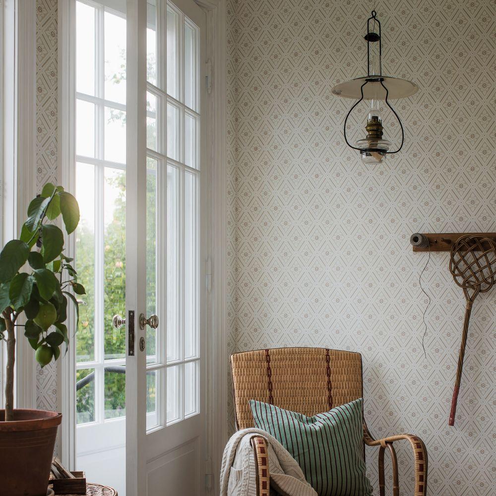 Ester Wallpaper - Beige / Red - by Boråstapeter