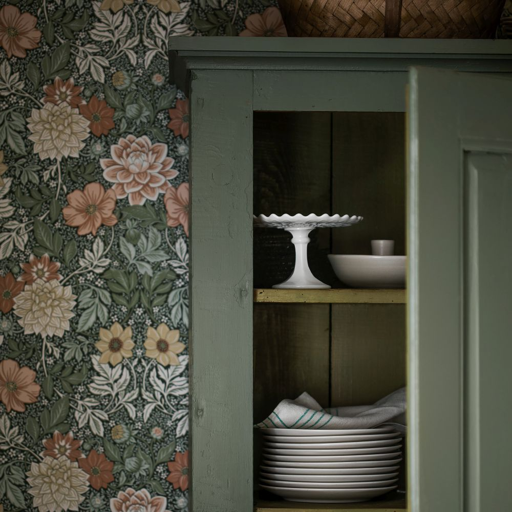 Dahlia Garden Wallpaper - Blush / Green - by Boråstapeter