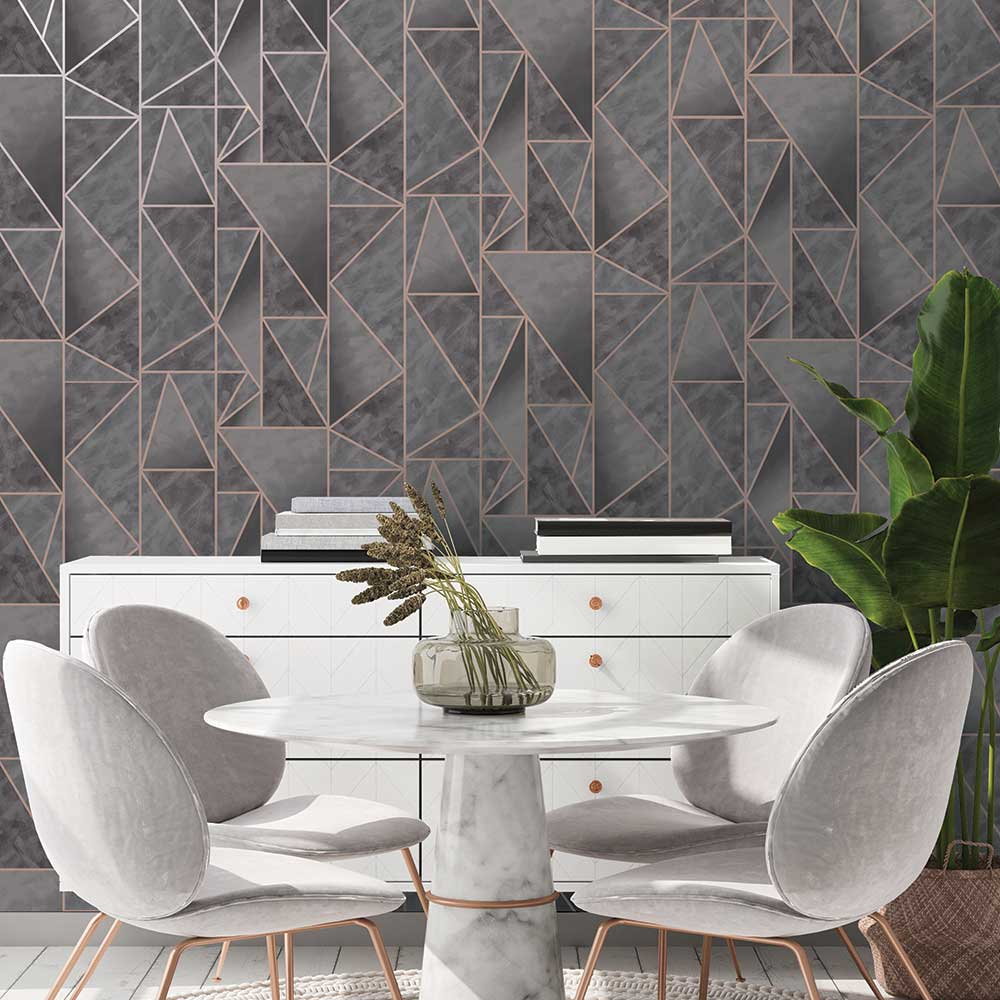 Albany Charon Charcoal / Rose Gold Wallpaper - Product code: 91142