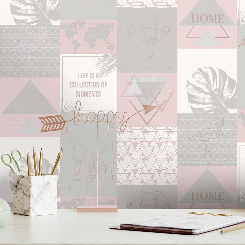 Adventure Wallpaper - Pink / Grey - by Albany