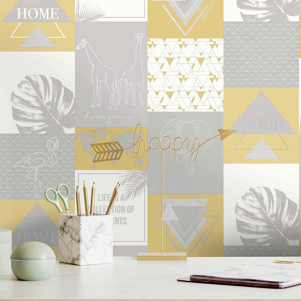 Adventure Wallpaper - Yellow / Grey - by Albany