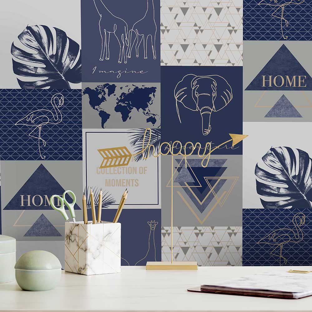 Albany Adventure Navy Wallpaper - Product code: 91162