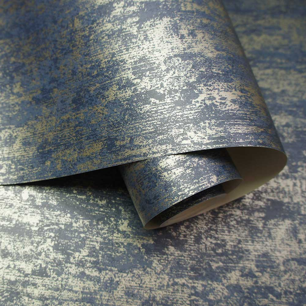 Distressed Metallic Wallpaper - Navy - by Albany
