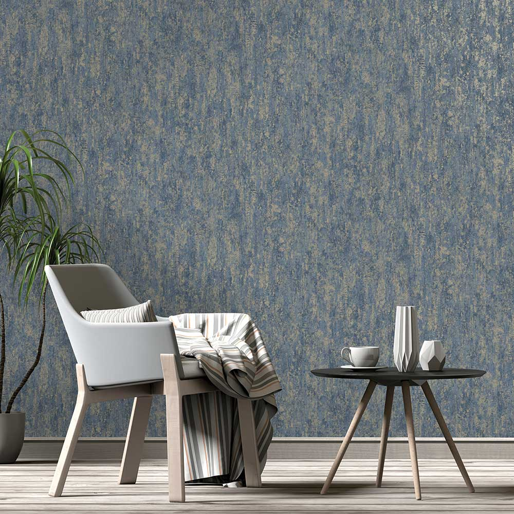 Albany Distressed Metallic Navy Wallpaper - Product code: 91212