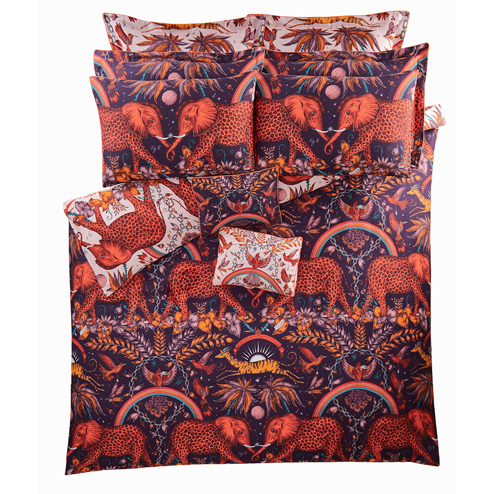 Zambezi Square Oxford Pillowcase  - Wine/ Blush - by Emma J Shipley