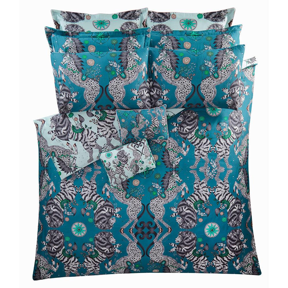 Caspian Standard Pillowcase Pair - Aqua/ Teal - by Emma J Shipley