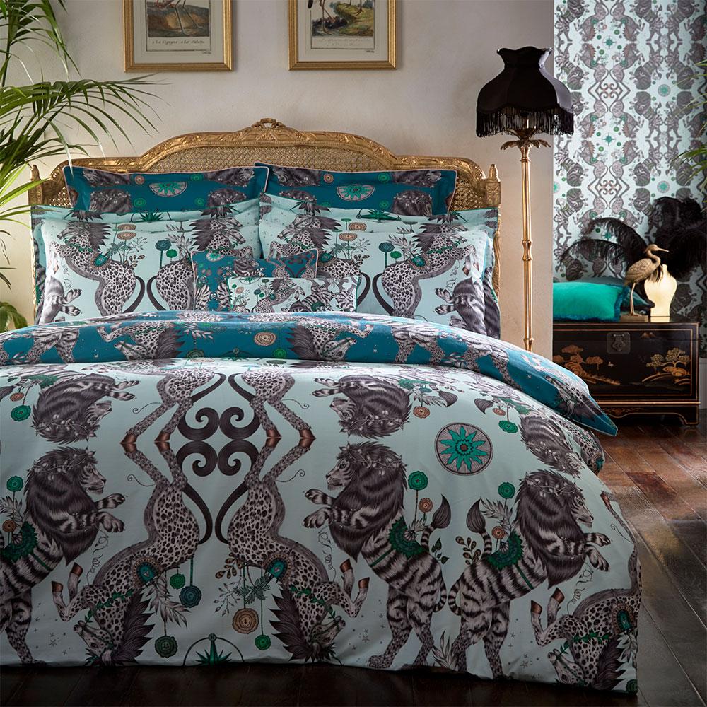 Caspian Oxford Square Pillowcase - Aqua/ Teal - by Emma J Shipley