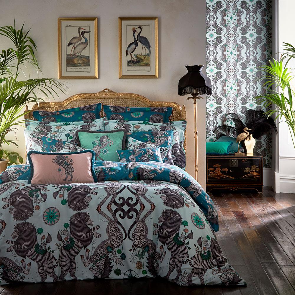 Caspian Boudoir Pillowcase  - Teal - by Emma J Shipley