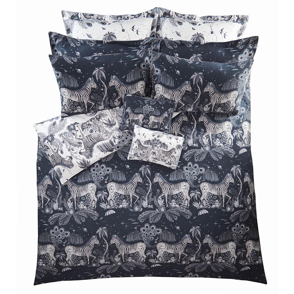 Lost World Standard Pillowcase Pair - Navy/ White - by Emma J Shipley