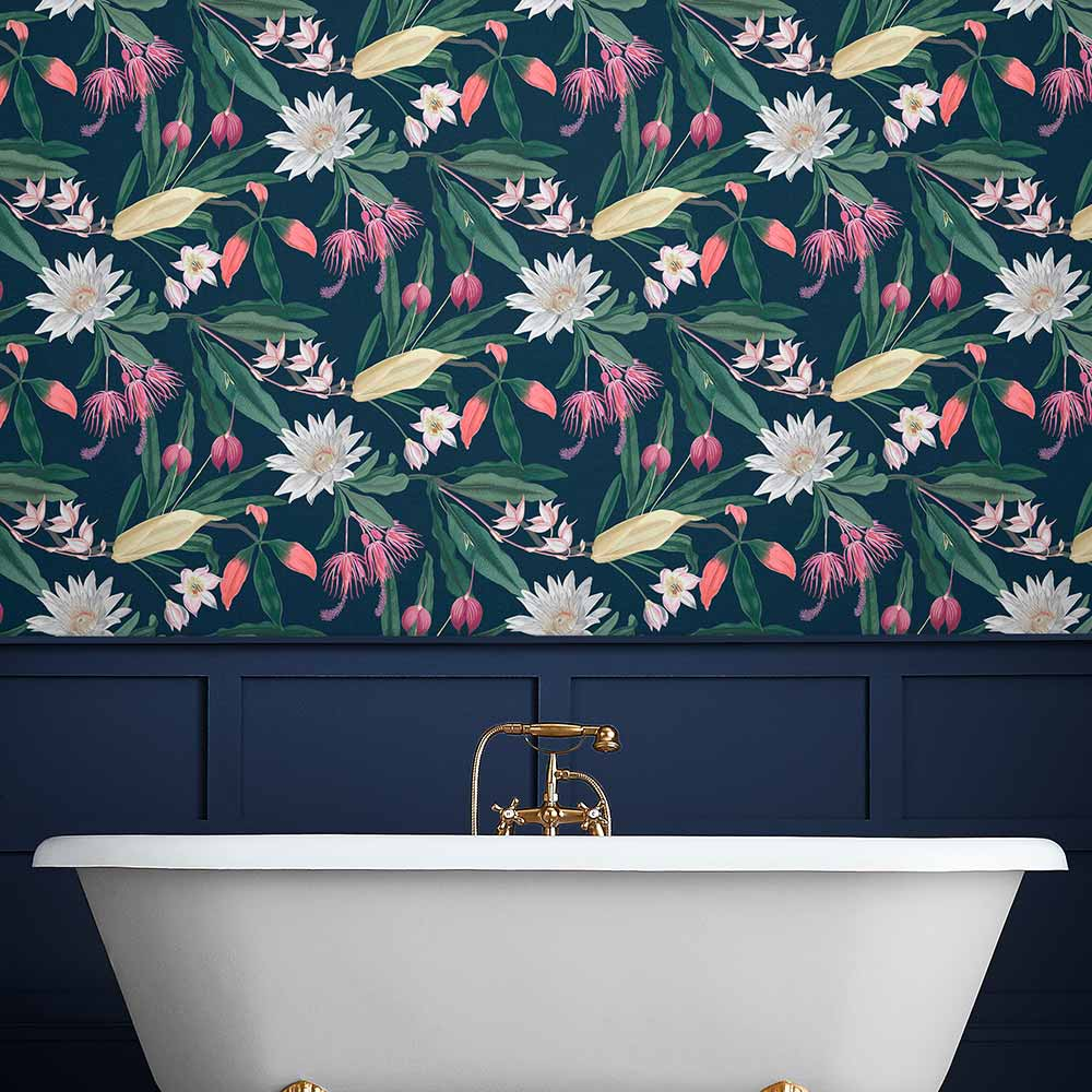 Paradise Wallpaper - Midnight - by Graham & Brown
