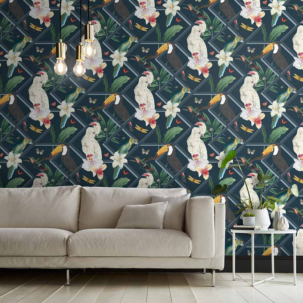Graham & Brown Perch Navy Wallpaper - Product code: 107605