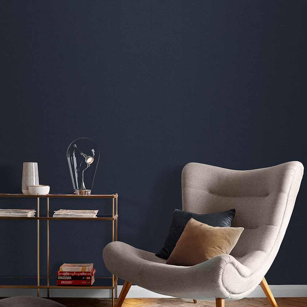 Graham & Brown Plain Midnight Wallpaper - Product code: 107625