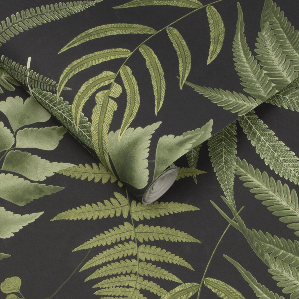 Midsummer Fern Wallpaper - Black - by Graham & Brown