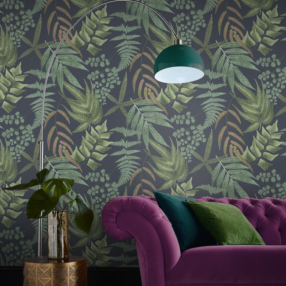 Graham & Brown Midsummer Fern Navy Wallpaper - Product code: 107881