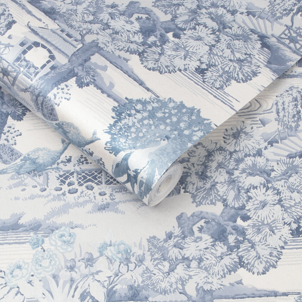 Edo Toile Wallpaper - Blue - by Graham & Brown