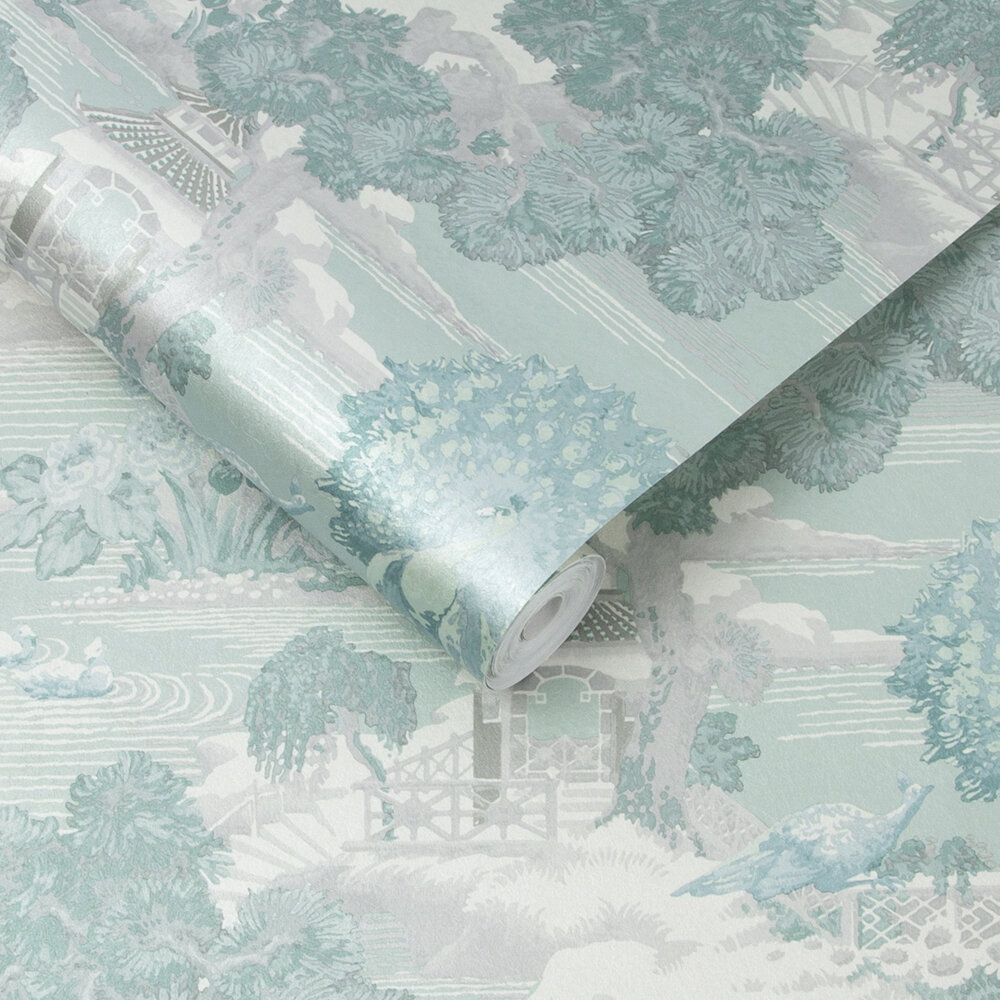 Edo Toile Wallpaper - Mint - by Graham & Brown