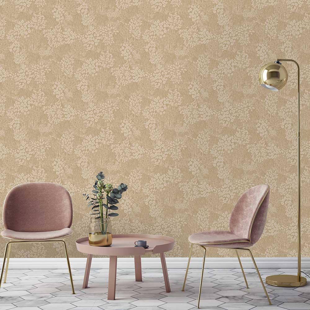 Majella Wallpaper - Gold - by Albany