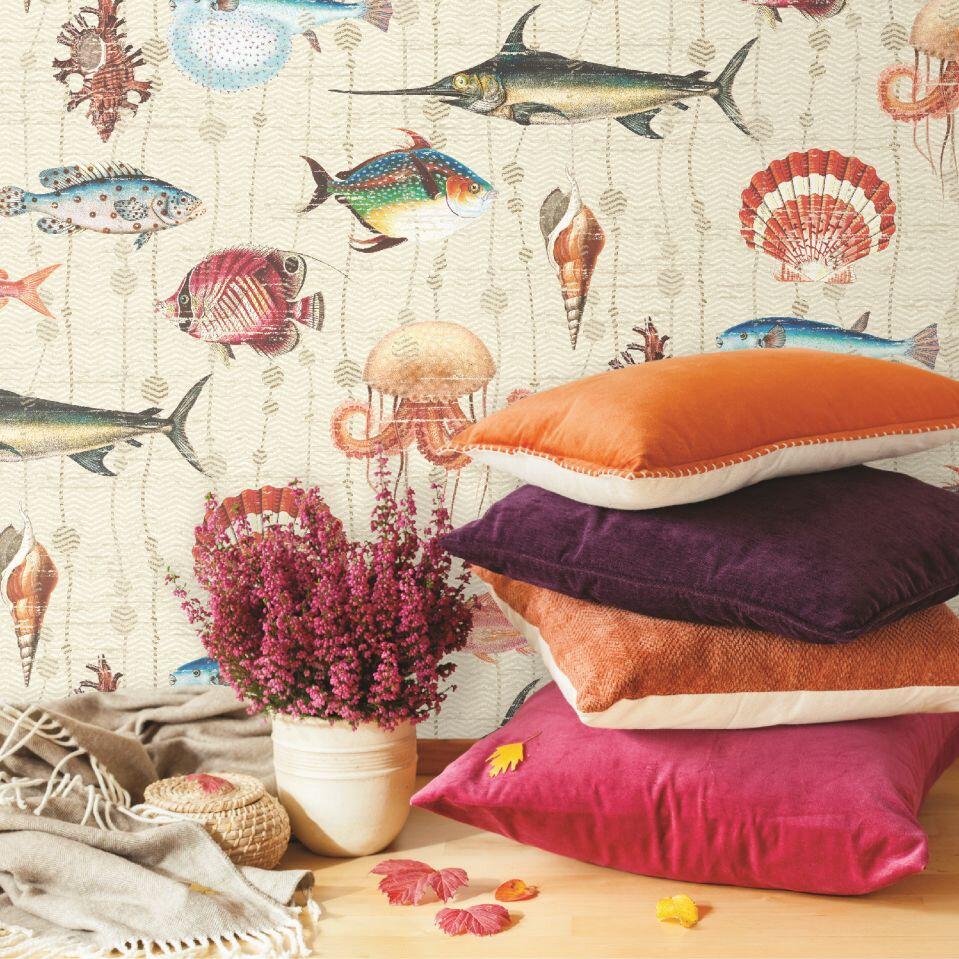 Kitts Wallpaper - Cream - by Elizabeth Ockford
