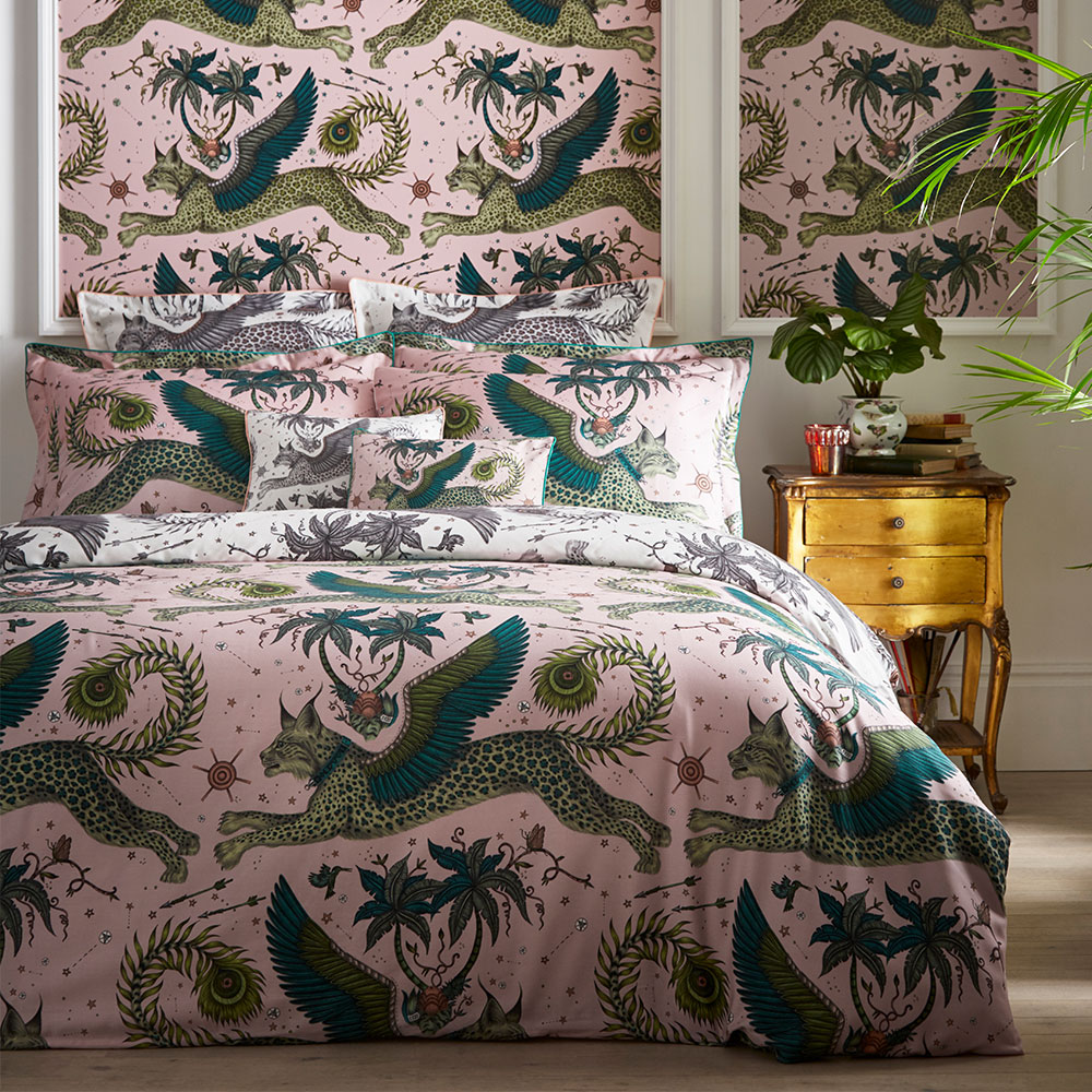 Lynx Standard Pillowcase Pair - Blush/ White - by Emma J Shipley