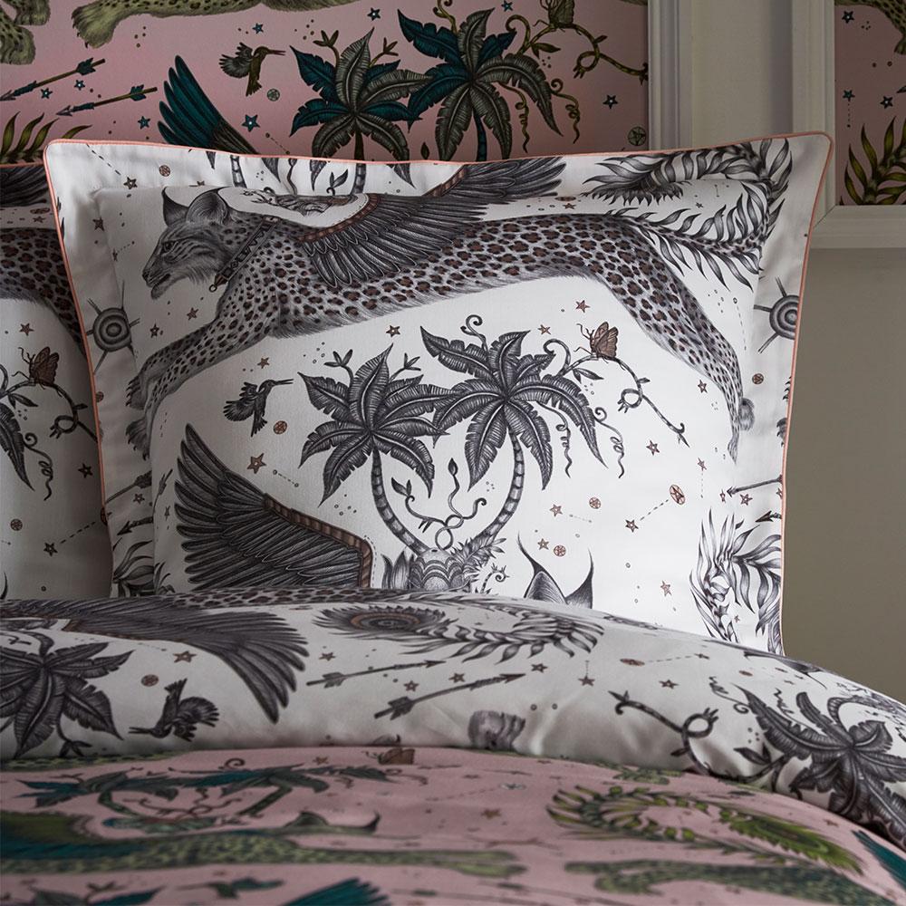 Lynx Oxford Square Pillowcase - Blush/ white - by Emma J Shipley