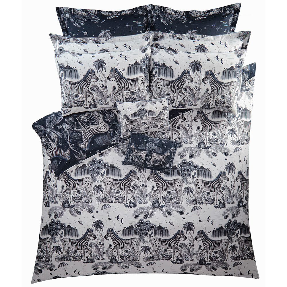 Lost World Oxford Square Pillowcase - Navy/ White - by Emma J Shipley